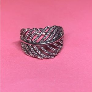 New Pandora Silver CZ Light as a Feather Ring #4.5